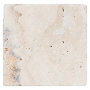 """4"""" x 4""""  $0.25 per piece Country Beige Tumbled Travertine Tile"""