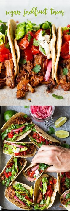 jackfruit tacos Jackfruit can take any meal to the next level—including these meaty, fresh tacos from Lazy Cat Kitchen.Jackfruit can take any meal to the next level—including these meaty, fresh tacos from Lazy Cat Kitchen. Veggie Recipes, Mexican Food Recipes, Whole Food Recipes, Vegetarian Recipes, Cooking Recipes, Healthy Recipes, Mexican Vegan Food, Easy Plant Based Recipes, Tostada Recipes