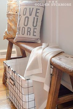 my style industrial, cleaning tips, home decor, storage ideas, I love this weathered bench and wire basket I found at HomeGoods The bench is great at the end of the bed for easily putting socks and shoes on and the basket is perfect for holding dirty clothes until they get put in the laundry