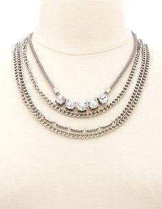 Layered Rhinestone Chain Collar Necklace: Charlotte Russe