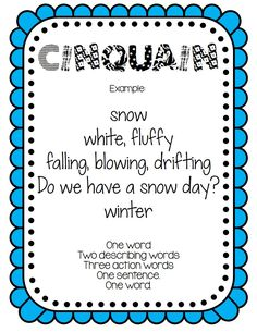 Poetry posters and writing pages! This is the cinquain poster in the set of 8 different poems!