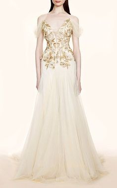 Floral Applique Tulle Gown by Marchesa for Preorder on Moda Operandi
