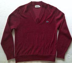 Vintage 1960's Izod Lacoste Velour Knit Pullover Sweater Top Mens Size L #IZODLacoste #Pullover