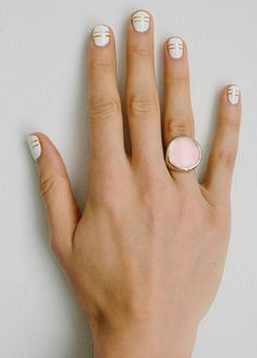 Loving the idea of this with a crisp navy blue outfit... Monday Work Wear: {Office Appropriate Nail Art}