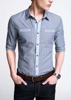 $22.99 Men's Striped Long Sleeve Shirt