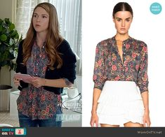Liza's floral button down top on Younger.  Outfit Details: https://wornontv.net/55903/ #Younger