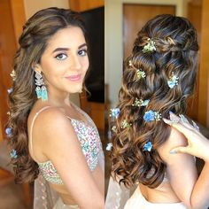 Apr 2020 - Hey Beautiful Bride-to-be! Want to know new hairstyles for indian wedding function? Here are best hairstyles for your mehndi, haldi & sangeet Short Hair Updo, Curly Hair Styles, Engagement Hairstyles, Indian Wedding Hairstyles, Bridal Hairdo, Bridal Hair And Makeup, Wedding Updo, Open Hairstyles, Bride Hairstyles