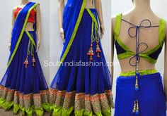 Royal Blue Lehenga by Varuna Jithesh – Beautiful blue lehenga with cutwork border and blue duppatta, paired up with blue and green combination sleeveless blouse designed by Varuna Jithesh. Half Saree Designs, Saree Blouse Designs, Blouse Styles, Half Saree Lehenga, Lehenga Saree Design, Sarees, Indian Attire, Indian Outfits, Indian Wear