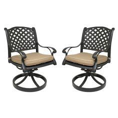 Nevada Cast Aluminum Patio Swivel Rocking Chairs (Set of 2, Sesame)