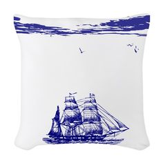 This nautical throw pillow features a design that at quick glance tells a story. It has a sailing ship on a calm ocean out on a beautiful day. Sea birds are also visible. Nautical Flip Flops, Sea Birds, Designer Throw Pillows, Beautiful Day, Sailing Ships, Duvet, Tapestry, Fabric, Calm