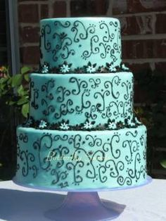 Wedding Cake #Black +#Tiffany #Blue wedding … Wedding ideas for brides, grooms, parents & planners https://itunes.apple.com/us/app/the-gold-wedding-planner/id498112599?ls=1=8 … plus how to organise an entire wedding, within ANY budget ♥ The Gold Wedding Planner iPhone #App ♥ For more http://pinterest.com/groomsandbrides/boards/