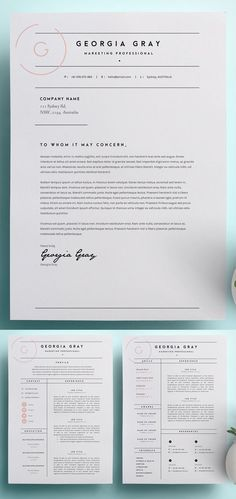 Beautiful simple modern resume and cover letter template with a feminine twist. - Design - Beautiful simple modern resume and cover letter template with a feminine twist. Beautiful simple m Resume Layout, Resume Tips, Resume Examples, Resume Ideas, Cv Ideas, Resume Fonts, Logo Ideas, Resume Format, Art Resume