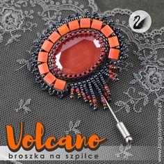 Volcano – broszka z kryształem Oval Swarovski