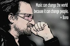 "His stage name comes from Bono Vox, a hearing aid retailer. Bono Vox is Latin for ""good voice"" Music Love, Rock Music, My Music, Bono Quotes, Music Quotes, Rock N Roll, U2 Lyrics, Great Quotes, Inspirational Quotes"
