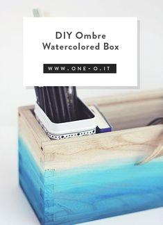 DIY Ombre Watercolored Box | One O DIY