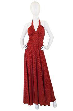 Rare 1960s Burnt Amber Silk Backless Annacat Dress