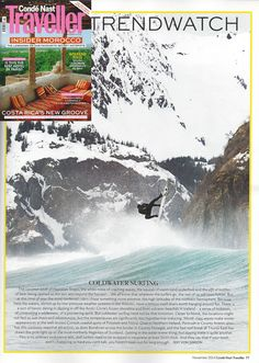 Feature on Cold Water Surfing as a trend in the November issue of Condé Nast Traveller.