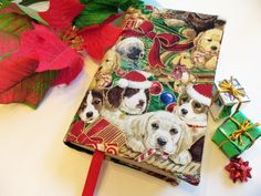 Christmas Dogs Fabric Paperback Book Cover Christmas Tree full of Puppy Doggy #HandmadebyMe