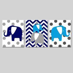 Baby Boy Elephant Nursery Art Trio  Set of Three 8x10 by Tessyla, $55.00