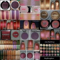 FAVORITE DUPES OF 2015 Yesterday I posted my 9 most liked photos of the year. Now I'm going to post my favorite pics of the 2015. I'm dividing it into 4 posts- dupes, swatches, makeup looks and my favorite accounts. These are my favorite dupes, in no particular order. 1. CP HUSTLE and MUFE EGGPLANT 2. CP HOPE and MUFE CRYSTALLINE PINK 3. CP SNAKEBITE and ABH AMBER 4. LOOXI ONE NIGHT STAND and ILLAMASQUA BERBER 5. CS VIOLETTA and MAC FIG 1 6. MUG MAI TAI and UD FIREBALL 7. AMREZY PALETTE...