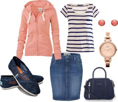"""""""Coral and Navy"""" by kayla-janee-bulkley on Polyvore"""