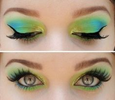 Green and blue eye makeup. Perfect for summer!