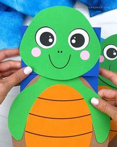 Craft Work For Kids, Hand Crafts For Kids, Animal Crafts For Kids, Kindergarten Activities, Preschool Crafts, Activities For Kids, Fish Paper Craft, Craft Instructions For Kids, Turtle Crafts