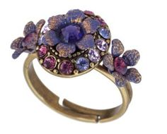 Michal Negrin Classy Ring with Purple Hand Painted Flowers Accented with Purple and Lilac Swarovski Crystals
