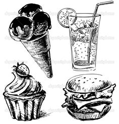 drawings+of+food | Fast food and desserts set. Hand drawing sketch vector illustration ...