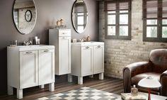 ensemble Tradition Cosy Home de Delpha avec meuble bas sous-vasque 2 portes, miroir ovale et plan moulé