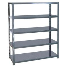 The Edsal 96 in. Steel Shelving is an extra heavy duty shelving unit that is designed to hold heavy parts such as dies and motors. Made of steel. These shelves have a center channel reinforcement and adjust on 1 in.