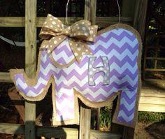 Burlap Elephant Door Hanger