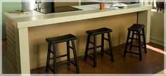 Add a Breakfast Bar.extend your counterspace with an easy-to-build wooden bar Kitchen Benches, Diy Kitchen, Kitchen Dining, Dining Rooms, Kitchen Reno, Kitchen Storage, Kitchen Ideas, Best Breakfast Bars, Breakfast Bar Kitchen
