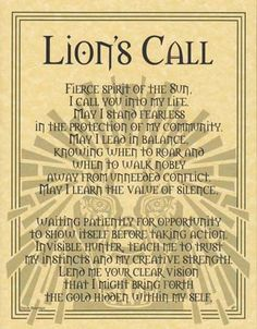 pagan blessings | Details about LION PRAYER - POSTER Wicca Pagan Witch Witchcraft Goth ...