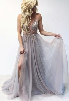 Gray v neck evening dresses tulle lace long prom dress a line cheap formal gowns Prom Dresses Two Piece, Prom Dresses For Teens, V Neck Prom Dresses, Cheap Prom Dresses, Sexy Dresses, Evening Dresses, Long Dresses, Summer Dresses, Wedding Dresses