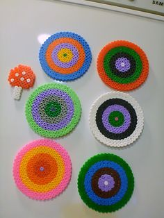 Perler beads coasters & magnets.  Great ideas!