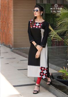 Rayon Kurti in Black Color. This Readymade piece is Enhanced with Resham Hand thread and Patch Border (Edge) Work and is Crafted in Round Neck and Quarter Sleeves The Kurti Length is 45 inches and may vary upto 2 inches Full Figure Dress, Stylish Kurtis, Casual Dresses, Fashion Dresses, Indian Designer Suits, Kurta Designs, Pakistani Dresses, Indian Outfits, Designer Dresses