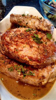 Sauteed porkchops with lemon garlic sauce