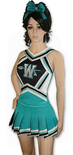 Cute New Custom Cheerleading Uniform! Not just another stock uniform... custom uniform set is USA made- just for you! Your choice of colors braid. Pick a full, racer or X strap stretch back and your single color team name (the custom embroidery shown is a little extra). Includes skirt of your choice. Shown with optional matching diagonal cut fly-away skirt with contrast panels underneath adds a little sass! Transform your uniform with a matching liner (available separately)…