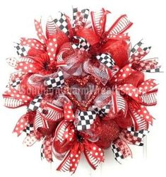 Deco Mesh Valentine Wreath Red White Heart Door Wreath by www.southerncharmwreaths.com by jodie