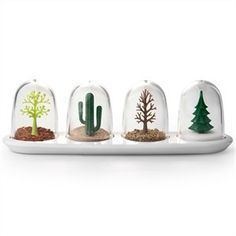 Qualy Four Seasons Spice Shakers by cub. $30.88. Made of plastic. The Spring and Autumn shakers have larger holes for dried herbs, whilst Summer and Winter are great for powders. They measure approx 4.5 cm x 4.5 cm x 5.5 cm. Easy to fill!. Variety is the spice of life, and these awesome Four Seasons herb shakers from Qualy are certainly different. These modern kitchen accessories can add a touch of je ne sais quoi to any meal, and they look great on the shelf! Like lit...