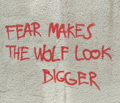 Location: Graffiti in the background of a scene between Wolf and Red. He is seducing her. Because the Wolf doesn't want to eat her in this story...he wants to consume her. In more ways than one. The story ends with Red's grandmother dead, and Red and Wolf in a very twisted relationship with a lot of blood on their hands.