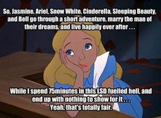 She's Not Even Invited to the Disney Princess Parties... but there is a movie that isn't animated where she ends up with a guy in the real world.. its just called Alice and it is a two part movie