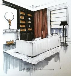 "LINE BOTWIN ""home illustrations"" great mix of modern and contemporary, detail around lounge gives a great effect."