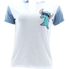 Disney - Women's Stitch Front and back V-Neck Contrast T-Shirts - White/Blue