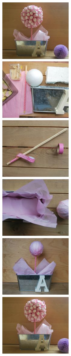 DIY marshmallows tree. Tutorial maceta con nubes. Chuches con un toque Shabby Chic.