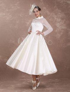 Wedding Dresses Short 1950 S Vintage Bridal Dress Long Sleeve Sweetheart Neckline Satin Ivory Rockabilly