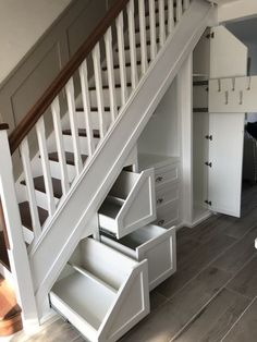 Love this storage idea I hope to use when I renovate my home Basement Stairs Home hope idea Love renovate storage Staircase Storage, Hallway Storage, Staircase Design, Bedroom Storage, Basement Storage, Hall Storage Ideas, Clever Storage Ideas, Cloakroom Storage, Cloakroom Ideas