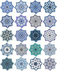 ArtbyJean - Paper Crafts: Eight ppointed star shaped medallions, 20 different ones on digital collage sheet. Geometric Patterns, Geometric Art, Islamic Art Pattern, Pattern Art, Glass Painting Designs, Drums Art, Arabesque Pattern, Persian Motifs, Islamic Wall Art