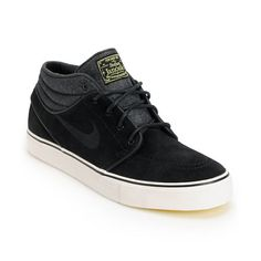 premium selection 32057 9451a Nike SB Zoom Stefan Janoski Mid Black   Electric Yellow Suede Skate Shoes    Zumiez